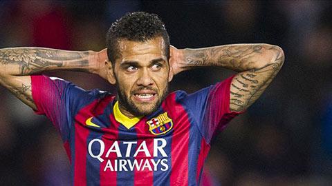 Barca mất Alves ở trận lượt về vòng 1/16 Cúp Nhà vua