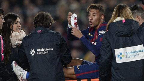 Neymar đổ máu trong trận đấu với Atletico Madrid