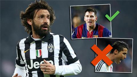 Pirlo chọn Messi, loại Ronaldo khỏi đội hình tiêu biểu