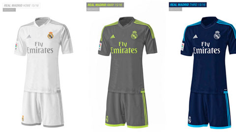 Lộ trọn bộ 3 mẫu áo đấu của Real Madrid mùa tới