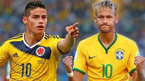 James Rodriguez vs. Neymar: El Clasico trong lòng đại chiến