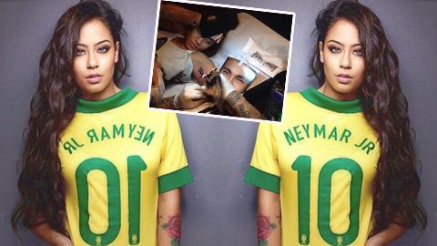 Em gái xăm hình Neymar lên cánh tay