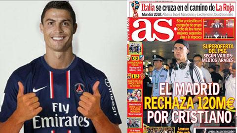 Real từ chối đề nghị 120 triệu euro của PSG dành cho Ronaldo