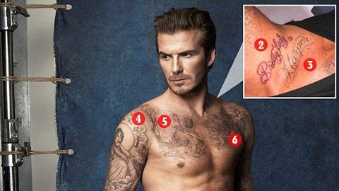 Giải mã 40 hình xăm trên cơ thể David Beckham