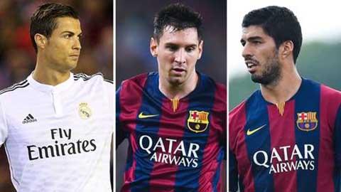 Ronaldo, Messi và Suarez tranh giải cầu thủ xuất sắc nhất châu Âu