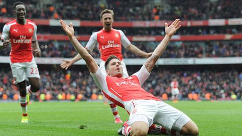 Giroud & cột mốc 100 trận cho Arsenal
