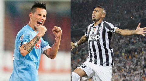 Phong độ của Hamsik (trái) và Vidal sẽ ảnh hưởng rất lớn tới thành tích của Napoli và Juve mùa này