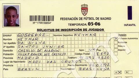 Giấy chứng minh về việc Neymar từng tập luyện và ký hợp đồng với Real