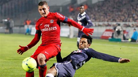 Không dễ để Verratti (trên) và đồng đội giành trọn 3 điểm trên sân của Bordeaux