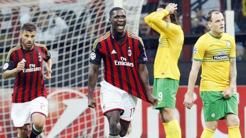 Trung vệ Zapata ghi bàn mở tỷ số trong chiến thắng 2-0 của Milan trước Celtic