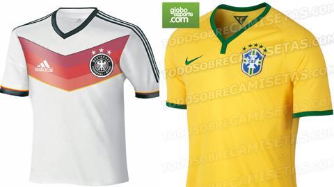 Áo thi đấu của ĐT Đức và Brazil