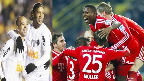 Với sức mạnh vượt trội, các cầu thủ Bayern nhiều khả năng sẽ vượt qua Atletico Mineiro (trái)