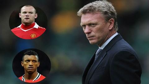 HLV Moyes đang đau đầu vì tình trạng chấn thương của Rooney và Nani