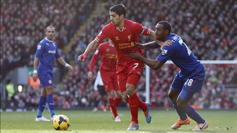 Suarez lập cú đúp giúp Liverpool lên ngôi đầu bảng