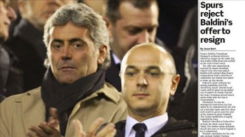 Baldini (trái) không được phép rời Spurs