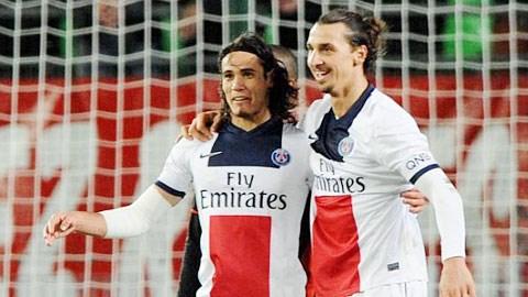 Ibra (phải) và Cavani hiện là 2 chân sút tốt nhất Ligue 1 mùa này