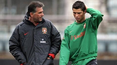 Queiroz và Ronaldo khi còn làm việc chung ở ĐT Bồ Đào Nha