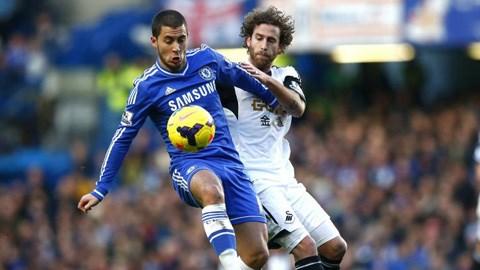 Eden Hazard (trái), tác giả của bàn thắng duy nhất của trận đấu