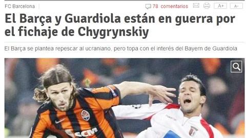 Tờ Mundo Deportivo tung tin Barca muốn mua lại Chygrynskiy (trái)