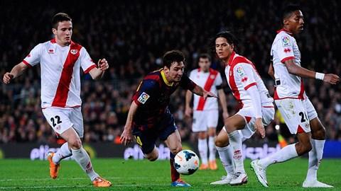 Messi đã lập cú đúp vào lưới Rayo Vallecano