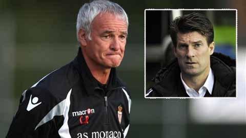 Laudrup (ảnh nhỏ) sẽ thế chỗ Ranieri ở Monaco?