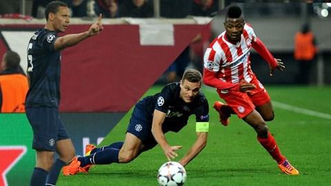 Cặp trung vệ Ferdinand - Vidic đã có trận đấu vô cùng tồi tệ trên sân của Olympiakos
