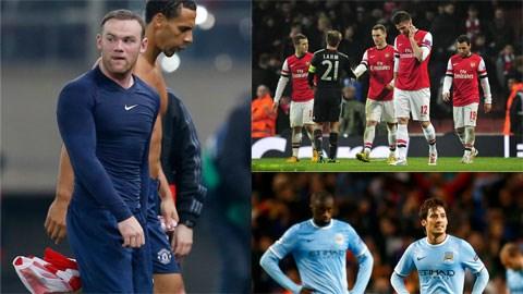 Man United, Man City và Arsenal cùng gục ngã 0-2 ở lượt đi