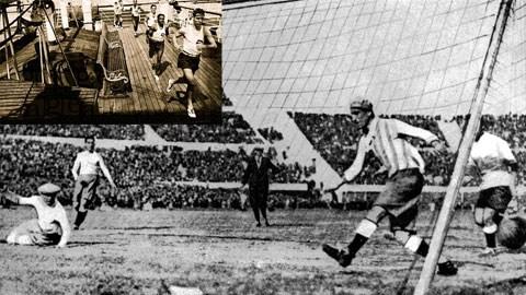 Các cầu thủ tập luyện trên tàu SS Conte Verde và bàn thắng của ĐT Uruguay trong trận chung kết