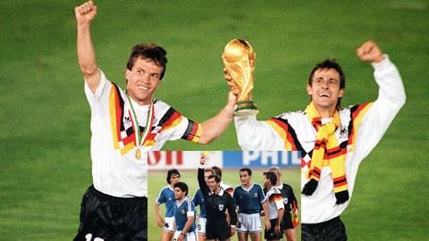 Sau trận chung kết với Argentina (ảnh nhỏ), Tây Đức đã lên ngôi tại World Cup 1990