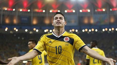 James Rodriguez đã ghi được 5 bàn ở World Cup 2014