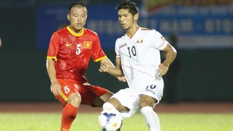 ĐT Việt Nam (áo đỏ) đã có trận thắng 6-0 trước Myanmar. Ảnh: Anh Tài