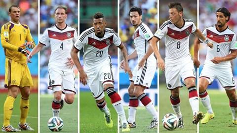Từ bên trái qua: Neuer, Hoewedes, Boateng, Hummels, Oezil và Khedira