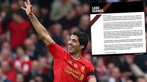 Suarez viết tâm thư chia tay Liverpool