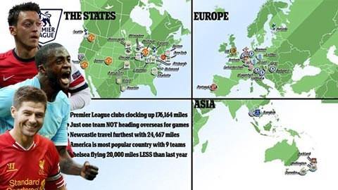 Các đội bóng Anh không ngần ngại di chuyển cả chục nghìn km để tăng thu nhập