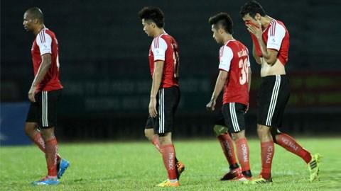 Một số cầu thủ Đồng Nai có dấu hiệu tiêu cực trong trận đấu với Than Quảng Ninh - Ảnh: Dư Hải