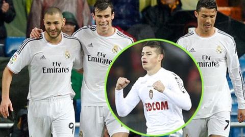 James Rodriguez (ảnh dưới) sẽ đá sau lưng bộ ba Bale - Benzema - Ronaldo?