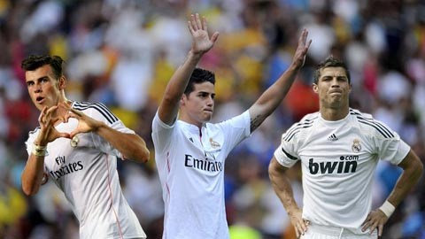 Bale (trái), Rodriguez (giữa) và Ronaldo