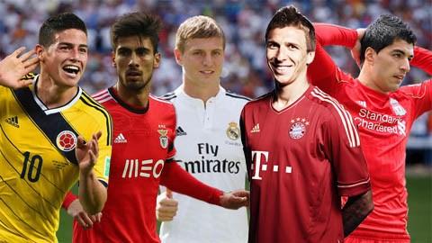 Từ trái sang: James Rodriguez, Gomes, Kroos, Mandzukic và Suarez