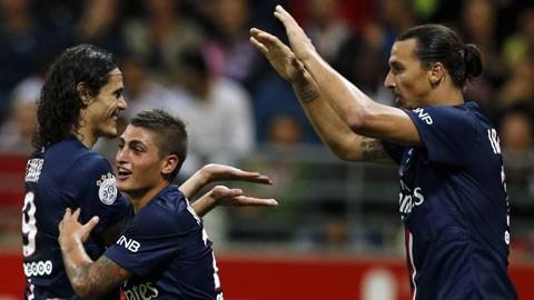 Ibrahimovic (phải) giúp PSG không bị bẽ mặt trong ngày ra quân</p> <p>