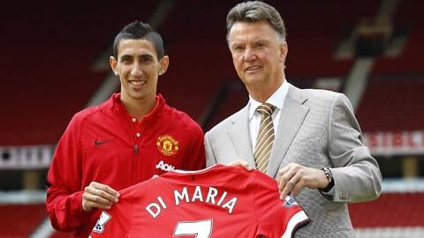 Với giá chuyển nhượng kỷ lục 59,7 triệu bảng, Di Maria được kỳ vọng sẽ giúp Van Gaal (phải) đưa M.U trở lại vị thế hàng đầu