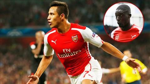 Arsenal hiện chỉ còn 2 tiền đạo là Alexis Sanchez và Yaya Sanogo (ảnh nhỏ)