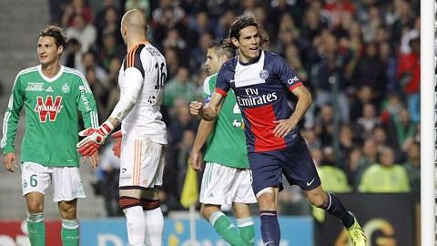 Cavani (bìa phải) sẽ lĩnh xướng hàng công PSG đè bẹp St.Etienne?