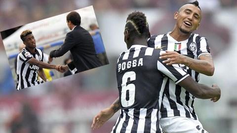 Nếu Vidal (phải) rời Juve, đội bóng Italia sẽ đặt hy vọng vào Coman (ảnh nhỏ)