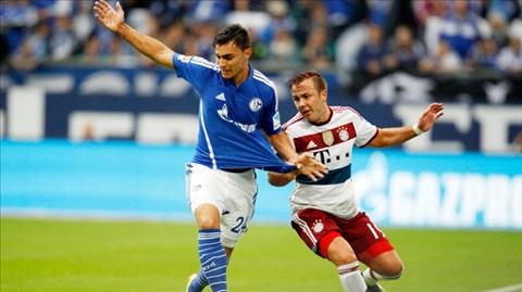 Cỗ máy Bayern (áo trắng) đã khựng lại ngay ở vòng 2 khi bị Schalke cầm hòa 1-1