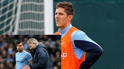 Nhiều khả năng HLV Pellegrini sẽ để Man City đá 1 tiền đạo khi Jovetic chấn thương