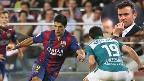 HLV Enrique (ảnh nhỏ) có thể không dám để Suarez  đá chính trận El Clasico