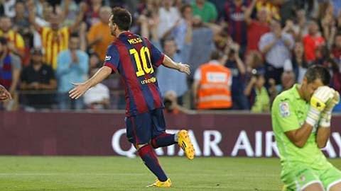 Messi ăn mừng bàn thắng ghi được ở trận đấu đêm qua