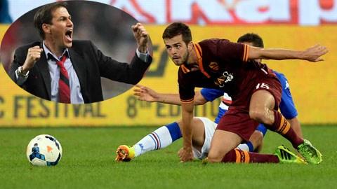 Trận gặp đối thủ lớn Man City sẽ lại là dịp để HLV Garcia (ảnh nhỏ) thể hiện tài thao lược