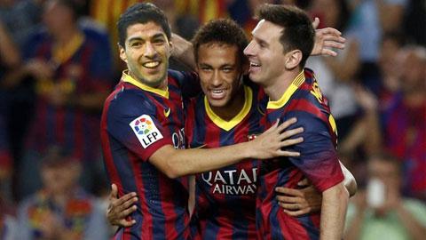 Suarez và Neymar đe dọa vị thế số 1 của Messi ở Barca