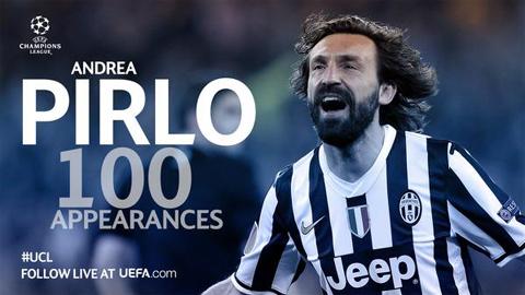Pirlo đánh dấu mốc 100 ra sân tại Champions League bằng siêu phẩm đá phạt